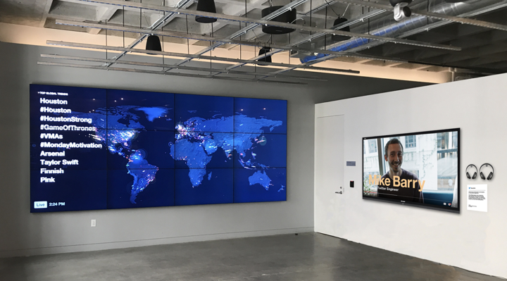Twitter Aurora installed on screens in Twitter's San Francisco headquarters